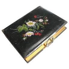 Victorian Photo Album Hand Painted Flowers Leather Cover - No Photos