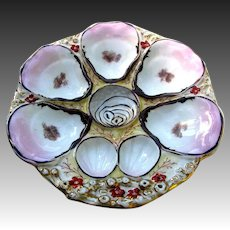 Antique Gilded Oyster Plate Large 5 Wells by C. Tielsch Germany