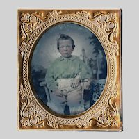 Ruby Ambrotype Little Boy in Green Blouse