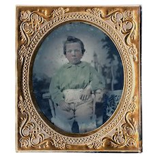 Ruby Ambrotype Little Boy in Green Blouse