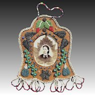 Antique Native Beaded Picture Frame - Iroquois Beaded Frame c1915