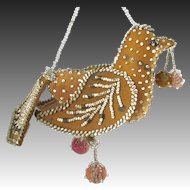 Victorian Iroquois Beaded Hanging Bird Whimsy Dated 1900