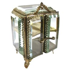 Antique French Ring Box 2 Doors 6 Sides Beveled Glass