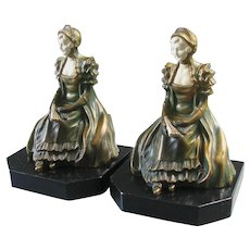 Art Deco Lady Bookends Celluloid Faces and Fans by JB Hirsch