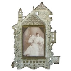 Victorian Iron Castle Frame Cabinet Card Size Opening
