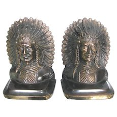 Native American Indian Bookends Chief or Sachem