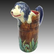 Antique French Majolica Figural Dog Pitcher RARE Shaggy Dog in Barrel c1890