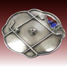 Vintage Silver Golf Pin Brooch Figural Clubs Enameled Flag