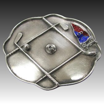 Vintage Silver Golf Pin Brooch Figural Clubs Enameled Flag