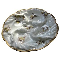 Antique Limoges Oyster Plate Small 4 Well Pin Wheel Haviland Design