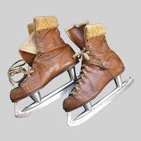 Vintage Ladies Ice Skates CCM Blades Daoust Boots Fur Cuffs