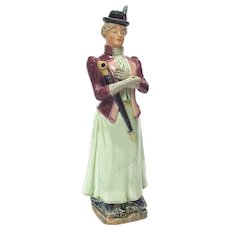 Antique Majolica Lady Bottle Decanter Germany c 1890