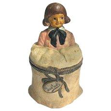Antique Figural Humidor JM Johann Maresh Painted Terra Cotta Tobacco Jar