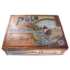 Victorian Polo Sports Tin c1890 - French FELIX POTIN POLO PARIS Biscuit Tin