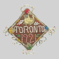 Native Beaded Whimsy Iroquois Beaded Toronto Souvenir with Cat