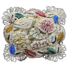 Large Antique Iroquois Beaded Pin Cushion - Bird Leaves Flowers
