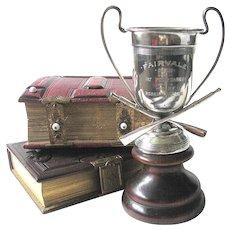Old Silver Rowing Trophy Figural Oars -  1919 Four Oared 1st Prize