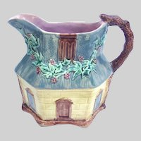 Antique English Majolica Cottage Pitcher 8 Inches High