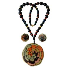 Boho Hippie Colorful 'Flower Power' Necklace and Earrings Set