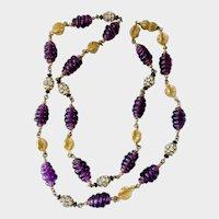 Purple Beehive Art Glass Bead & Rhinestone Ball Almost-Sautoir Necklace