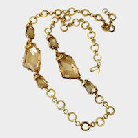 Kenneth Jay Lane Dazzling Empire Stone Crystal Champagne Long Necklace