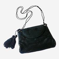 Embroidered Black Satin Evening Purse: Early Judith Leiber for Paristyle
