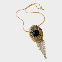 Deco-Style Fringed Brooch-Pendant with Onyx Cabochon: Marena Germany with Trifari Chain