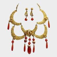 Caviness Humongous Cobra/Serpentine Collar Necklace Earrings Set: Very Rare