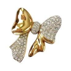 Two-Textured Shiny Goldtone & Rhinestone Pavé Ribbon Bow Brooch: Swarovski S.A.L.