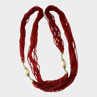 Stunning Ruby Red Seed Bead, Glass Pearl and Faux Turquoise Sautoir a la Vendome