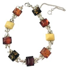 Machine Age Style Bracelet with Multi-Color Amber Lozenges