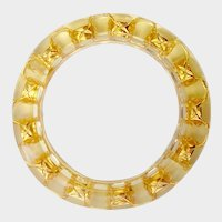 Chanel Clear Lucite & Quilted Gilt Chain Bangle Bracelet,1980s