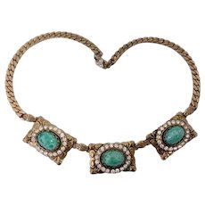 Victorian Revival Necklace with Faux Emerald Cabochons & Buckle Motif: Unsigned Czech
