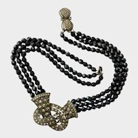 Victorian Goth-Style Lover's Knot Necklace with Faux Onyx Beads, Grey 'Diamonds': Heidi Daus
