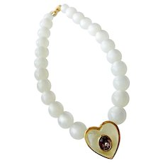Givenchy Famous 'Jelly Belly' Heart Necklace with Moonglow Beads, Lavender Crystal