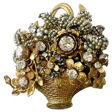 Haskell Faux Baroque & Seed Pearls & Rhinestone Floral Basket Brooch