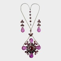 Confirmed Schreiner Huge Faux Amethyst Convertible Brooch-Necklace & Dangle Earrings Set