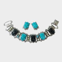 Happy Faces Bracelet & Earrings Set with Faux Turquoise & Onyx, Selro-Style