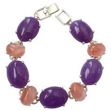Sterling Bracelet with Semi-Precious Amethyst & Peach 'Jelly Belly' Cabochons
