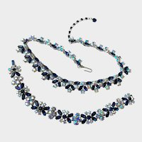 Trifari 1961 'Memo to Smart Woman' Blue & Aurora Borealis Necklace & Bracelet Set