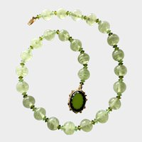 Mint Green Art Glass Bead Necklace with Scalloped Molded Glass Clasp