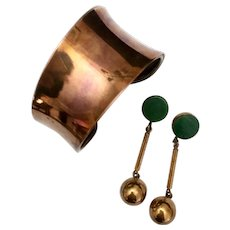 Copper Modernist Bangle Bracelet & Drop Earrings with Malachite Accents