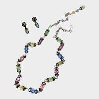 Multi-Pastel Swarovski Crystal Necklace & Dangle Earrings: Coro