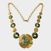 Sterling 22-K Gold Vermeil, Jade & Bronze 'Year of the Horse' Necklace: Franklin Mint