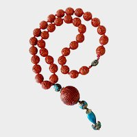 Cinnabar Necklace with Silver Clasp and Cinnabar-Cloisonné Drop: Chinese Export