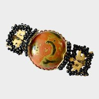 Haskell Red, Black and Gold Art Glass Asian Motif Brooch