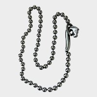 Hematite Carved Dragon Clasp Necklace: Chinese Export