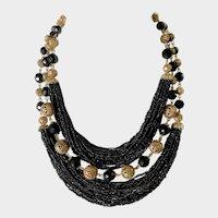 Hobé Lavish Black Crystal & Gilt Filigree Balls Necklace