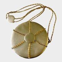 Round Gold Lame & Gilt Chains Shoulder/ Crossbody Bag: Elza Tofini Handmade in Brazil