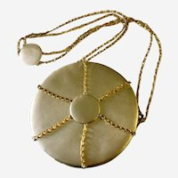 Round Gold Lame & Gilt Chains Shoulder/ Crossbody Bag: Elza Tofini Handmade in Brazil